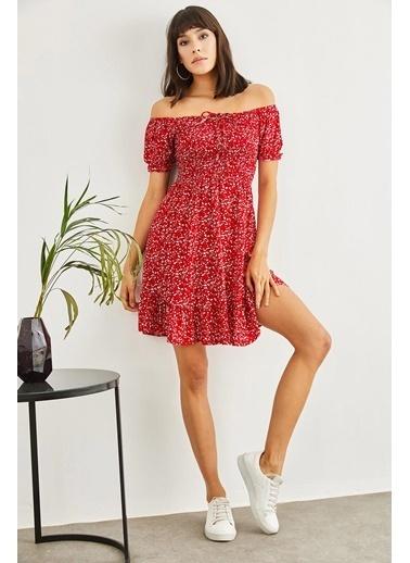 Sortee Kadın Gipeli Ip Askılı Çiçek Desenli Elbise Kırmızı